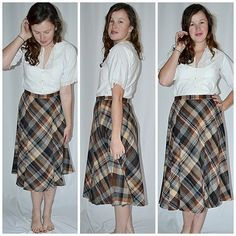 Vintage 1970s Brown and Gray Pleated Wool Blend Skirt 30 Inch Waist by ChrisMartinDesigns on Etsy