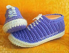 The Crochet Sneakers pattern is extremely popular with crocheters. The slippers make fantastic gifts for all ages. Theyre soft and comfortable and stylish. This pattern is suitable for children and teenagers and adults and includes 8 sizes 14-15cm and 16-18cm and 19-20cm and
