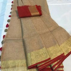 Excited to share this item from my shop: Linen saree Organic Linen by Linen sarees with zari Work and blouse piece Organic handwoven 100 count Linen saree Stitched blouse on request