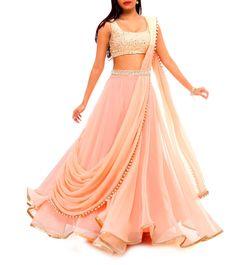 Pink Sequined Georgette Lehenga