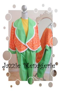 Clown Costume  Tails Three Piece Citrus Colored by JazzieMenagerie, $180.00