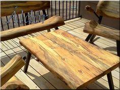 New log coffee table with steel legs. Log Coffee Table, Log Table, Dining Table, Log Furniture, Furniture Design, Log Bed, Colorado Homes, Wood Creations, Wood Slab