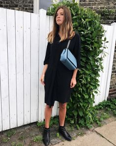 DECADENT Madelyn small bag in dove blue. Worn by Danish blogger Alberte Whitta