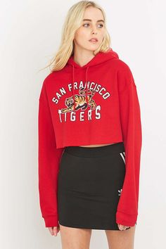 BDG San Francisco Tigers Cropped Red Hoodie - Urban Outfitters