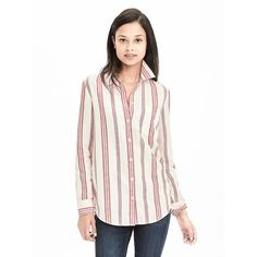 Banana Republic Womens Dillon Fit Striped Linen/Cotton Shirt ($58) ❤ liked on Polyvore featuring tops, dark saffron, white stripes shirt, linen shirt, white cotton shirt, white long sleeve top and white striped shirt