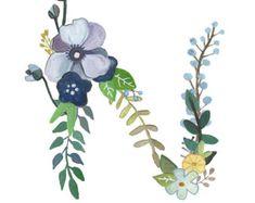N letra floral Print