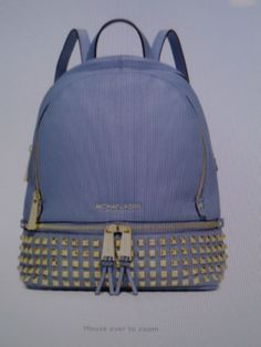 MICHAEL KORS Leather Rhea Zip Sm/Med Studded Backpack Pale Blue GoldNWT $358 #MICHAELMichaelKors #BackpackStyle