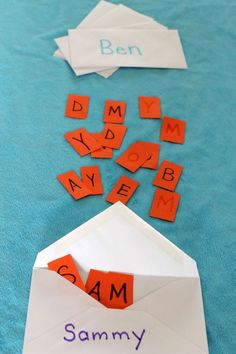A fun way to practice matching upper case and lower case letters for kids. Preschoolers can mail names to each other!