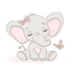 Lindo elefante con una mariposa Vector P. Cute Elephant Drawing, Cartoon Elephant, Elephant Art, Indian Elephant, Cute Baby Drawings, Mother And Baby Elephant, Cute Baby Elephant, Cute Baby Animals, Baby Elephants