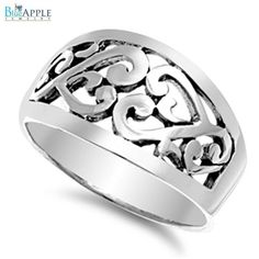 Romantic Flower Floral Vintage Style Woman's Ring Solid 925 Sterling Silver Plain Simple 11mm Woman's Ring Size 4-16