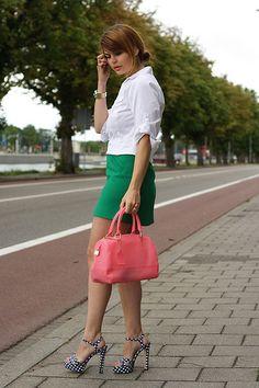 polka dot shoes....#greenskirt via http://lookbook.nu/look/2171189
