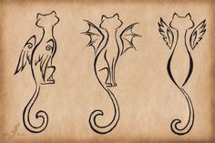 winged cat tattoo - Google Search (looking for Lola)