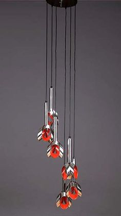 Anonymous; Chromed and Enameled Metal Ceiling Lights by Raak, c1970.