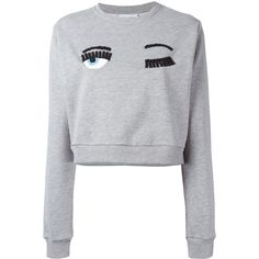 Chiara Ferragni embellished eyes sweatshirt (5.804.370 IDR) ❤ liked on Polyvore featuring tops, hoodies, sweatshirts, grey, grey crop top, embellished crop top, long sleeve sweatshirt, long sleeve crop top and grey top
