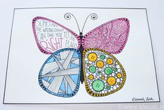 365 day project Butterfly ♥ DAY 53 ♥ Drawing time, inspired by Zentangle & my new obsession - buttons :)