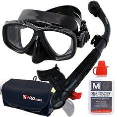 Mask Snorkel Set SeaDrops Anti-fog Mask Snorkel Gear Bag…