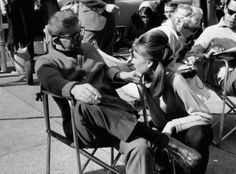 """Director Blake Edwards and Audrey Hepburn on the set of """"Breakfast at Tiffany's"""""""