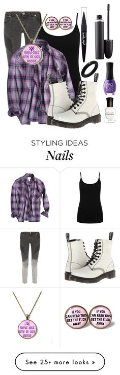 """Asexual colours!"" by found-herself-in-wonderland-13 on Polyvore featuring Pierre Balmain, M&Co, André Ribeiro, Levi's, Dr. Martens, Maybelline, Deborah Lippmann, ORLY, MAC Cosmetics and women's clothing"