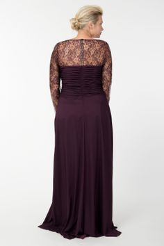 Long Sleeve Charmeuse Gown in Barberry - Fall / Holiday Pre-Order - Plus Size Evening Shop | Tadashi Shoji