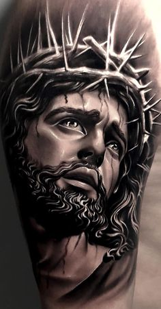 Jesus Tattoos - Tons of Jesus Tattoo Designs & Ideas - Tattoo Me Now Girl Back Tattoos, Face Tattoos, Body Art Tattoos, Sleeve Tattoos, Jesus Tattoo On Arm, Jesus Tattoo Design, Small Tattoo Designs, Small Tattoos, Croix Christ