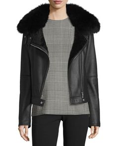 Pomono+Merino+Silky+Leather+Shearling-Lined+Jacket+w/Fox+Fur+Collar+by+Theory+at+Neiman+Marcus.