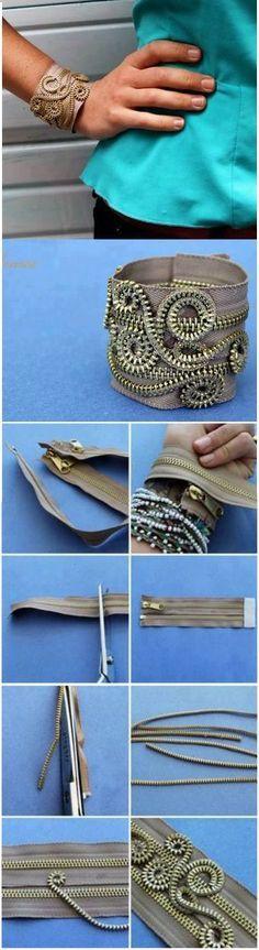 DIY  steampunk zip bracelet cremallera usos brazalete