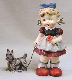 Vintage WALES Girl Figurine Walking a SCOTTIE Dog Very Unusual