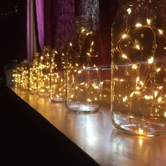 This is created with large jars and Onesteptimers ANC100 Fairy Lights.