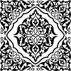 Arabesque Tile Black and White Wall Mural Stencil Patterns, Stencil Designs, Pattern Art, Art Designs, Moroccan Pattern, Moroccan Design, Moroccan Stencil, Motif Baroque, Motif Arabesque