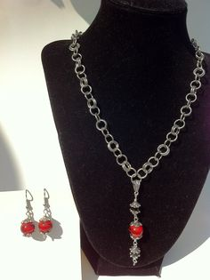 Necklace Earrings Red Black Silver Beaded by ConstantlyUnfolding, $24.50