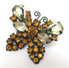 Rhinestone Butterfly Pin | Vintage Weiss Designer Topaz Rhinestone Japanned Butterfly Brooch Pin