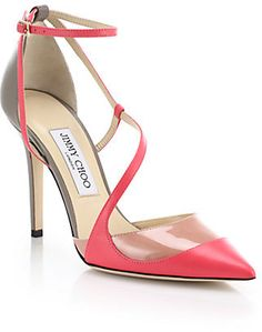Jimmy Choo Mutya Strappy Two-Tone Leather Pumps on shopstyle.com