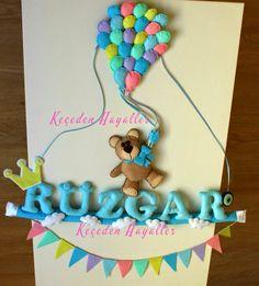 Felt balloon bear craft handmade - keçe balonlu kapı süsü ayıcık keçeden