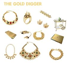 """""""The Gold Digger"""" by ahalife ❤ liked on Polyvore featuring Ben-Amun, Mina Ro Mina, Gerard Yosca, Artelier by Cristina Ramella, Jonathan Adler, women's clothing, women's fashion, women, female and woman"""