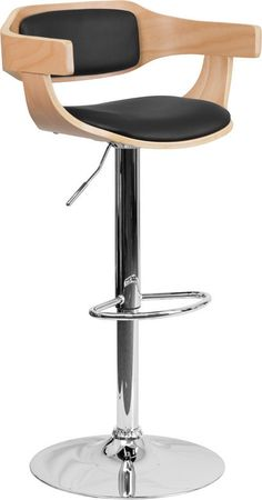 Flash Furniture SD-2179-GG Beech Bentwood Adjustable Height Bar Stool with Black Vinyl Upholstery