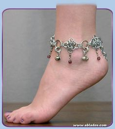 Amira Dancer Anklet, Unique chainmaille ankle jewelry w/bells, Belly dance chainmail ankle bracelet jewelry, Renaissance faires, bellydance Ankle Jewelry, Ankle Bracelets, Jewelry Bracelets, Costume Accessories, Jewelry Accessories, Belly Dance Jewelry, Bare Foot Sandals, Chainmaille, Handcrafted Jewelry