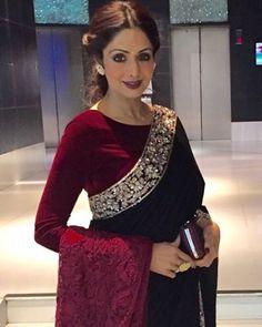 Saree Blouse Patterns, Saree Blouse Designs, Bollywood Designer Sarees, Bollywood Fashion, Bollywood Saree, Velvet Saree, Indian Gowns, Pakistani Dresses, Indian Wear