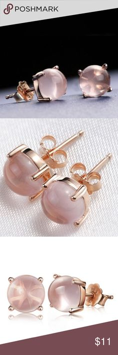 Vintage Pink Opal Earrings Brand New. Pink Opal/Rose Gold. 6mm. No Trades. Price is Firm Jewelry Earrings