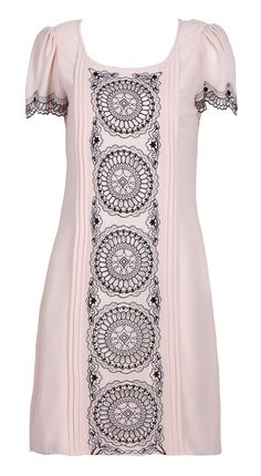 Embroidery Circle Print Dress.