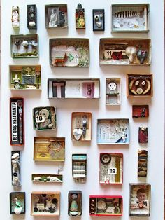 Maybe could be inspiration for Me in a box. All about me diorama mano's welt: kunstschachteln 339 - 345 Art Boxes Paper Art, Paper Crafts, Diy Crafts, Wal Art, Matchbox Art, Assemblage Art, Little Boxes, Art Plastique, Art Education