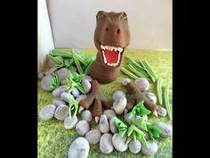 Dinosaur Cake Toppers, Fondant Cake Toppers, Gum Paste, T Rex, Garden Sculpture, Cake Decorating, Etsy, Handmade Gifts, 3d