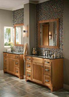 Oak with beautiful mosaic backsplash