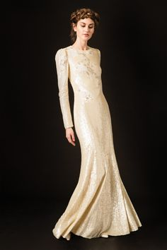Temperley London Wedding Dresses From Fall 2020 Bridal Fashion Week Ethereal Wedding Dress, Wedding Dress Sleeves, Long Sleeve Wedding, Colored Wedding Dresses, Bridal Wedding Dresses, Dream Wedding Dresses, Bridal Style, Sequin Wedding, Glitter Wedding
