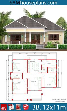 House Plans with Full Plan - Sam House Plans Modern Bungalow House Design, Small Modern House Plans, Beautiful House Plans, Simple House Plans, My House Plans, Simple House Design, Bungalow House Plans, Family House Plans, Two Story House Design