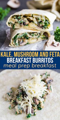 These freezer-friendly healthy breakfast burritos are packed with kale, mushrooms and feta. The perfect easy grab and go breakfast that will actually keep you full! #mealprep #breakfast #burrito #eggs #freezermeal #sweetpeasandsaffron Vegetarian Meal Prep, Lunch Meal Prep, Meal Prep Bowls, Best Breakfast Recipes, Brunch Recipes, Easy Dinner Recipes, Brunch Ideas, Seared Ahi Tuna Recipe, Saffron Recipes