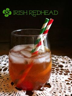 The Jameson Irish Redhead cocktail is a sparkly, sweet, drink with a pretty pinkish color .   Perfect for ST Patrick's Day!! Restlesschipotle.com