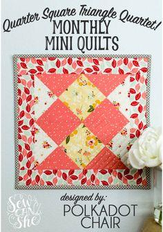 quarter square triangle mini quilt