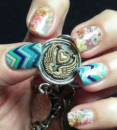 Jamberry Nail Wraps in Everything Nice and Memory Lane with a Waxing Poetic Charm!