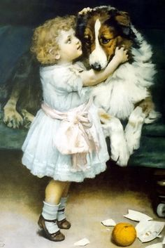 Little girl and collie