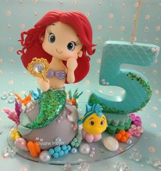Polymer Clay Halloween, Cute Polymer Clay, Cute Clay, Little Mermaid Cakes, Mermaid Birthday Cakes, The Little Mermaid, Ballerina Cakes, Fondant Animals, Mermaid Parties
